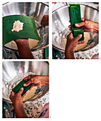 Bananenblatt mit Füllung zubereiten