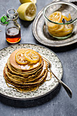 Pancakes with poppy seeds and candied lemons