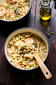 Pasta and chickpea soup with prawns