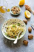Pasta with lemon and walnut pesto