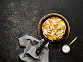 Omelett mit geräuchertem Schellfisch und Gruyere