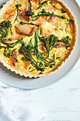 Hot smoked trout and tenderstem quiche