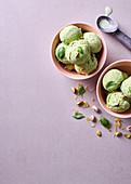 Basil, lemon and pistachio ice cream