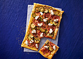 Tomato, baby marrow and goat's cheese tart