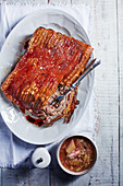 Pork belly with rhubarb chutney