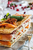 Salmon and cheese millefeuille for Christmas