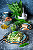 Wild garlic pesto risotto