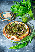 Wild garlic potato pizza