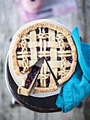 Blueberry pie with lattice crust