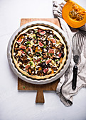 Vegan hokkaido pumpkin, chestnut mushrooms, fig and tofu tarte