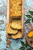 Vegan bread with hokkaido pumpkin, linseed and pumpkin seeds