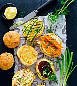 Cheddar scones with vegetables and mayonnaise