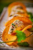 Tortilla chips with sardine cream