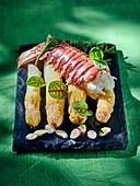 Lobster on white asparagus