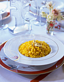 Saffron risotto with gold leaf