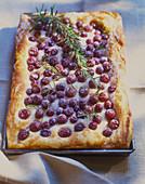 Cherry tart with rosemary