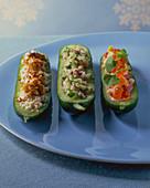 Three variations of stuffed cucumbers