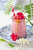 Raspberry smoothie with honey and elderflower