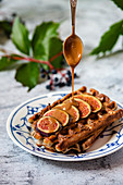 Waffles with figs and caramel sauce