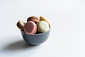 Bowl of fresh colorful macaroons