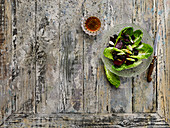 Beetroot salad with warm black pudding