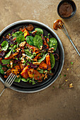 Roasted vegetable salad with miso and honey dressing