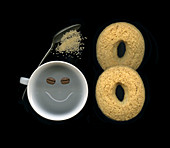 Laughing coffee cup with cookies