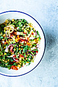 Pepper and corn salad with sweet chilli sauce
