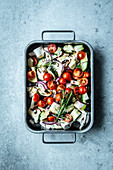 Roast vegetables with tomatoes and rosemary