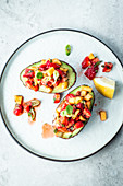 Stuffed avocados with strawberry salsa