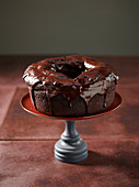 Chocolate and ginger cake with a dark chocolate glaze