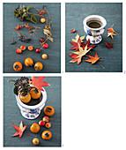 Herbstliches Gesteck mit Ahornblättern, Kaki, Zieräpfeln und Beerenzweigen selbermachen