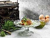 Mini Souffles With Wild Garlic Veloute Pesto