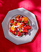 Beetroot salad with strawberries and mint