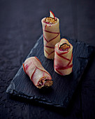 Rice paper rolls with apple, truffle and Pecorino