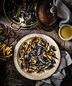 Belgian beer mussels