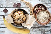 Sweet oatmeal burger with bananas and peanuts