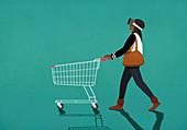 Frau mit Virtual Reality Brille schiebt einen Einkaufswagen (Illustration)