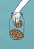 Hand reaching into cookie jar (Illustration)