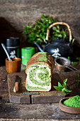 Yeast bread with matcha powder