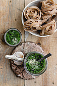 Pesto, garlic and tagliatelle