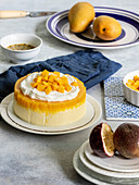 Passion Fuit Mango Cheesecake on the white plate