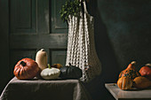 Variety of colorful pumpkins, edible and decorative, standing on kitchen table, with oregano greens