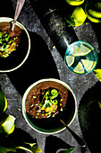 Black Bean Soup on a slate background