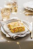 Drachenkopf-Lasagne mit Safran-Bechamelsauce