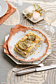 Lasagne with artichokes, ricotta and Castelmagno cheese