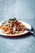 Spaghetti with vegetarian cauliflower bolognese