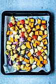 Oven-roasted pumpkin and potatoes