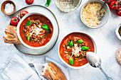 Mediterranean tomato soup with risoni and basil pesto