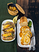 Tofu seitan roast with braised chicory in a citrus sauce with sesame seeds